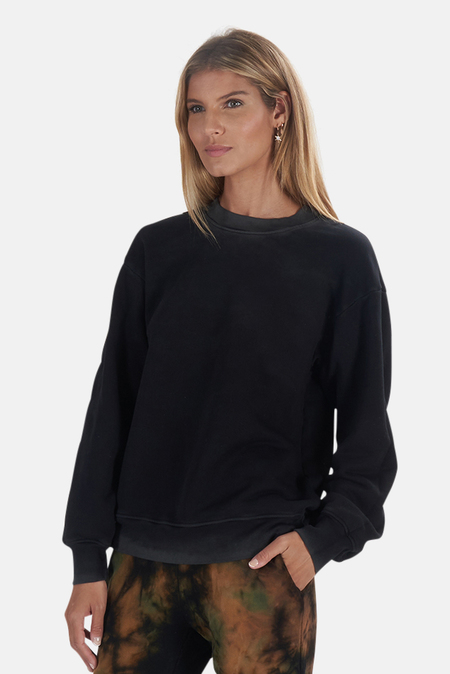 Cotton Citizen Brooklyn Oversized Crew Sweatshirt Sweater - Vintage Black Size XS