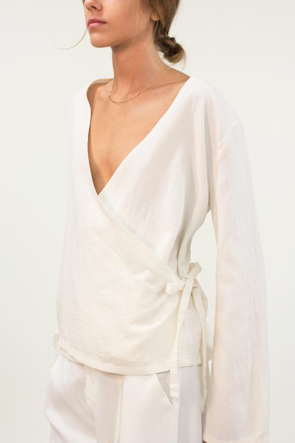 LACAUSA Lola Wrap Top- White