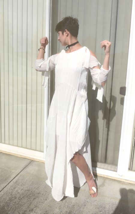 Vintage Chloe Pleated Gown - Chalk