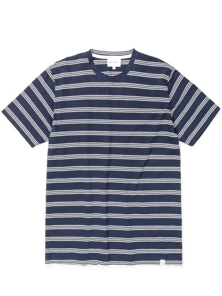 Norse Projects Johannes Stripe T-Shirt - Dark Navy