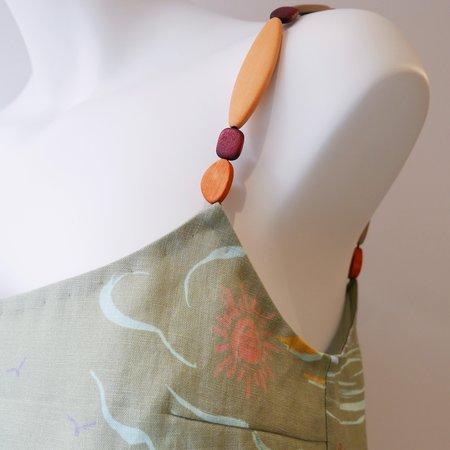 Rejina Pyo Alva Linen Top - Khaki/Wooden Detail