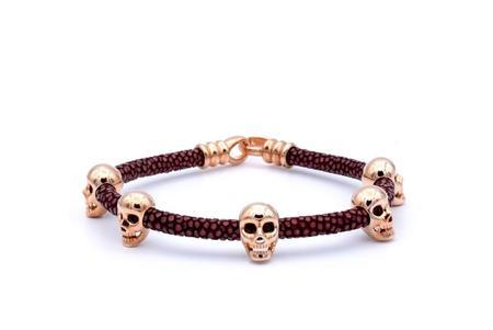 Double Bone Multi Skull Bracelet - Rose Gold/Red Wine StingRay