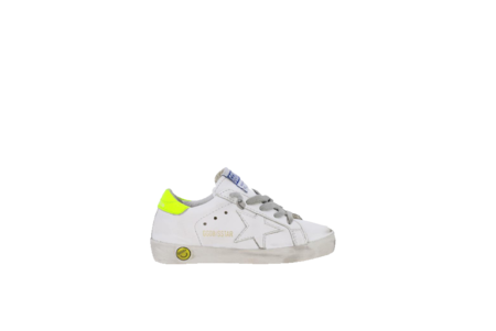Kids Golden Goose Superstar Sneakers - White/Fluo