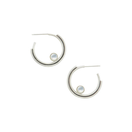 Artifacts Arc Hoops with stone - Sterling Silver