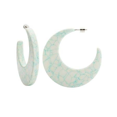 Machete Crescent Hoops - Minted Porcelain