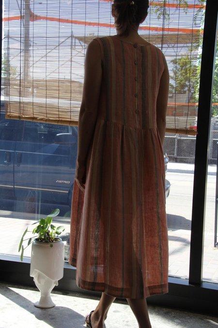 ALOJA Eka Striped Linen Florence Dress - Orange