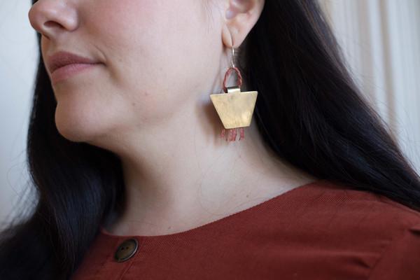 Layers of Earth Running Bear Earrings