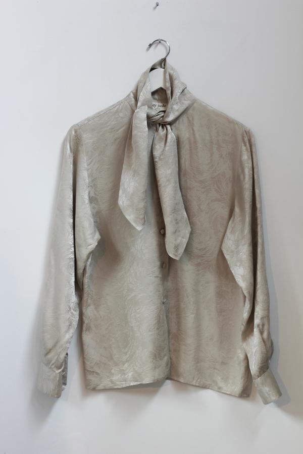 Hey Jude Vintage Sandstone Metallic Silk Blouse