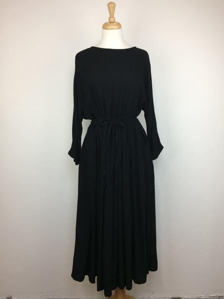 Black Crane Pleated Dress