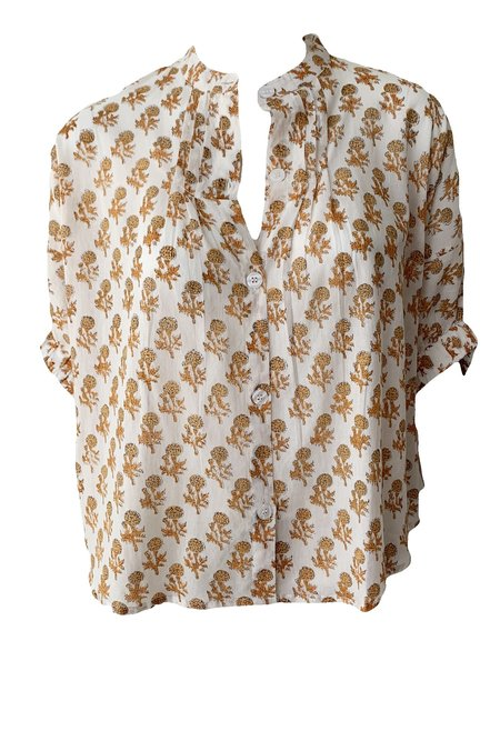 Emerson Fry Mandarin Collar Top - Little Marigolds