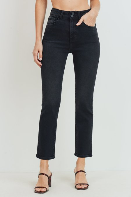 Just Black Double Button Straight Jeans - Washed Black