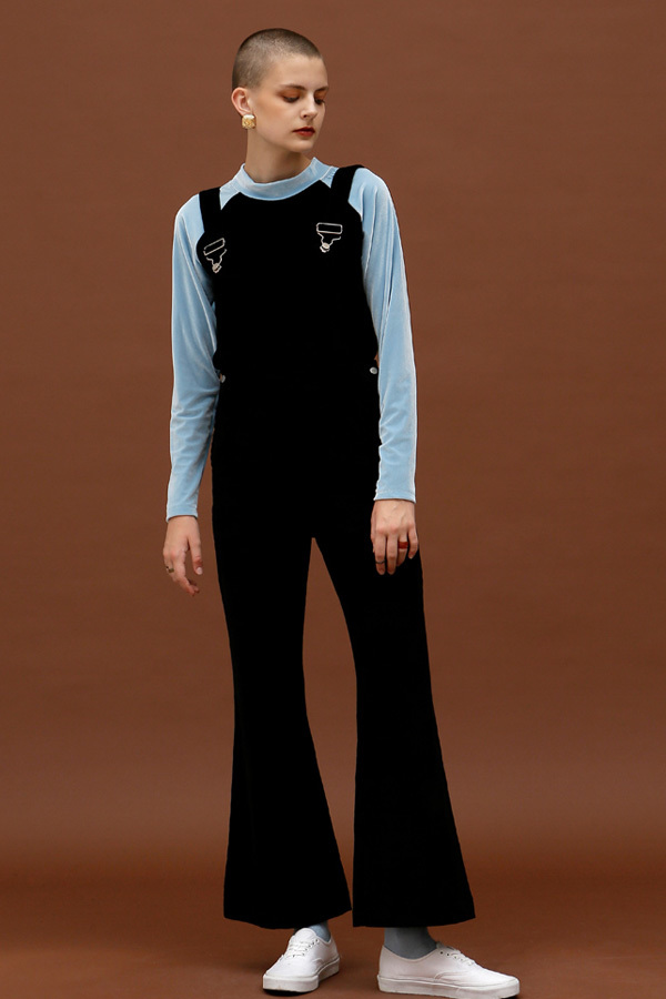 ROCKET LUNCH Corduroy Overall Pants- Black