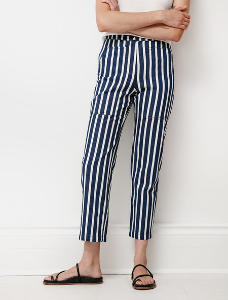 Hache Patch Pocket Striped Jeans - Indigo/Creaam