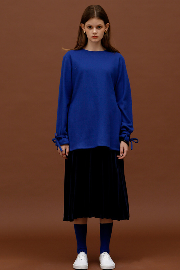 ROCKET LUNCH Velvet Pleated Skirt- Navy