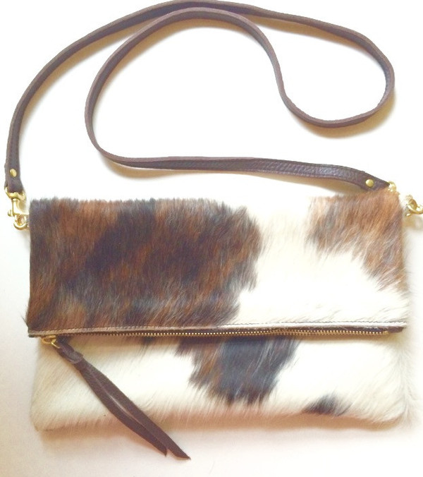OLIVEVE anastasia cross body in brown natural hair calf leather