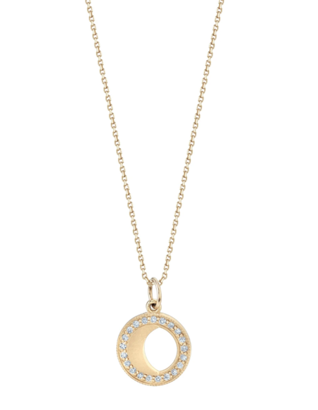 andrea fohrman small waning/waxing gibbous moon phase necklace - Gold