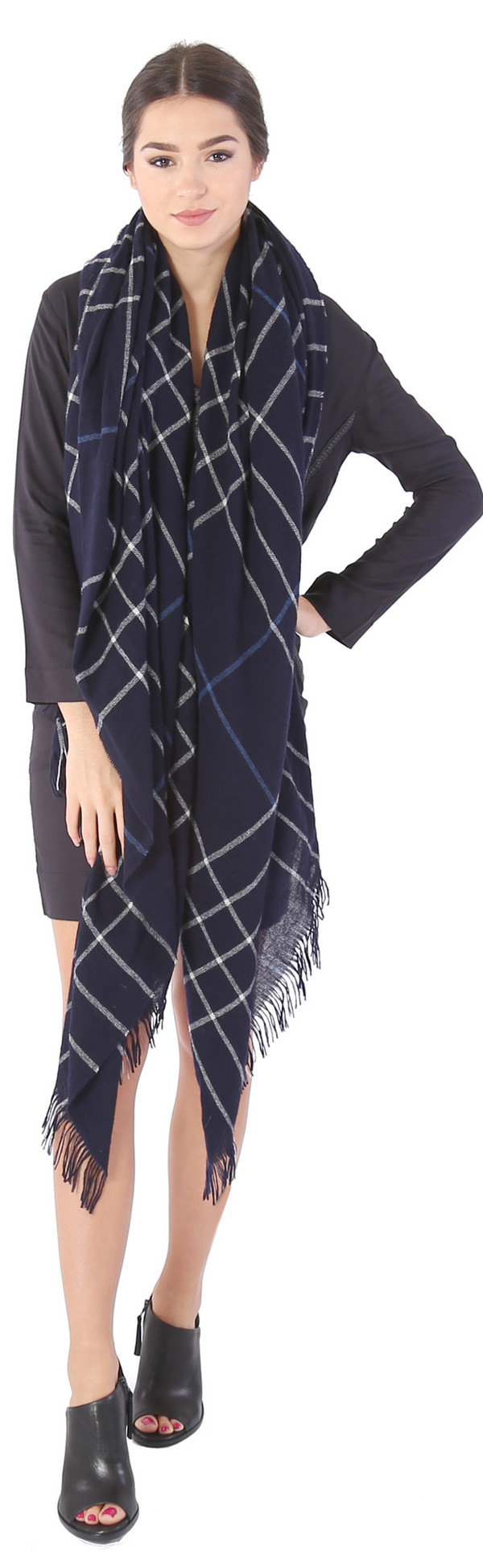 Rag & Bone Windowpane Check Scarf in Salute