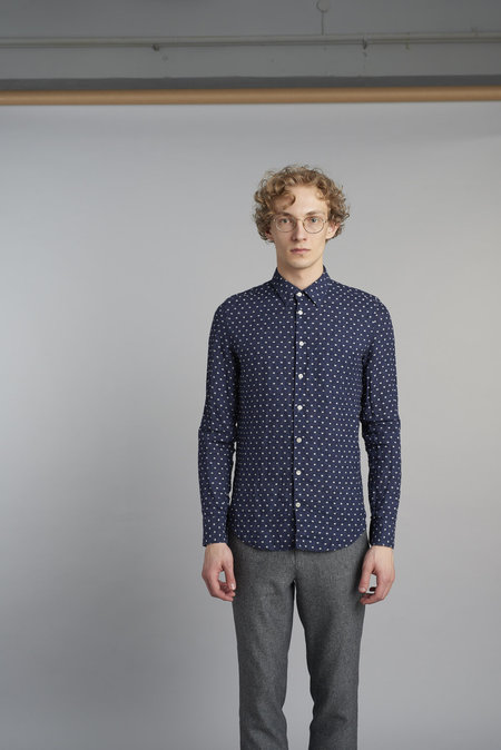 Delikatessen Feel Good Linen Shirt - Navy Polka Dot