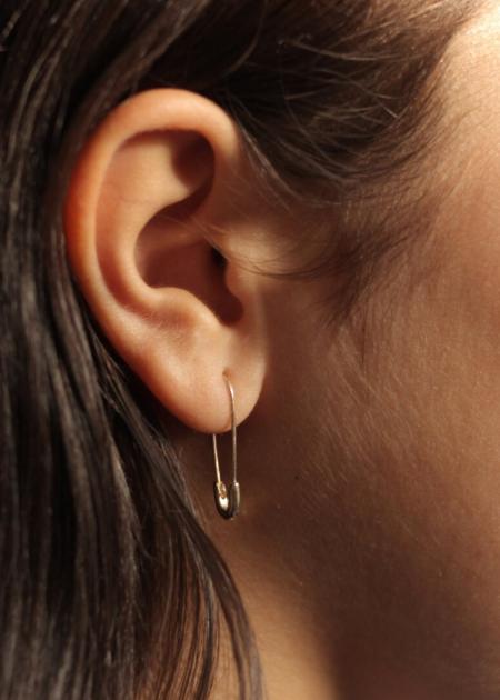 Futaba Hayashi Safety pin earring - 14K reclaimed gold
