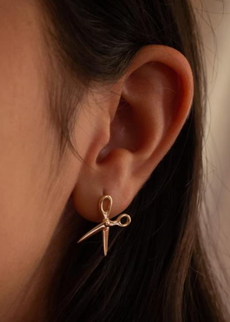 Futaba Hayashi Scissor earring - 14K reclaimed gold
