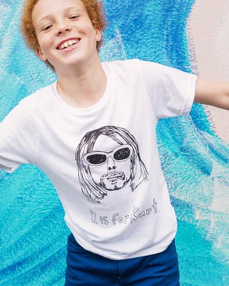 Kids Anchors-n-Asteroids K is for Kurt Tshirt - White