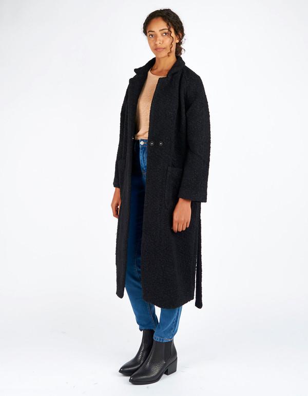 Ganni Fenn Long Wrap Coat Black