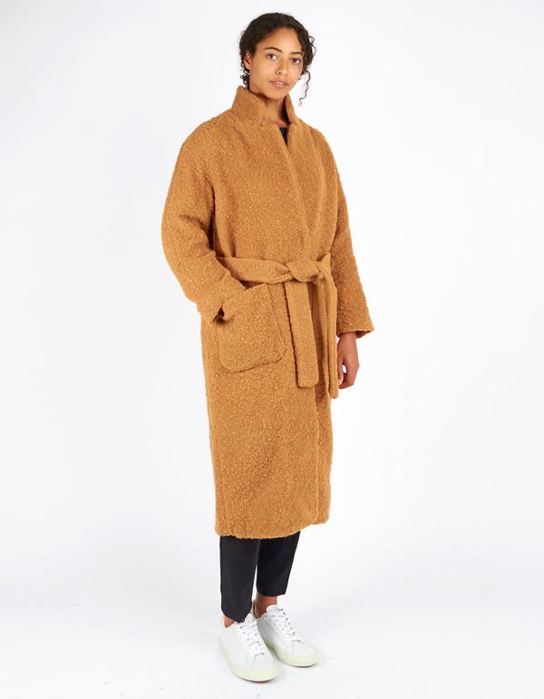 Ganni Fenn Long Wrap Coat Tobacco Brown