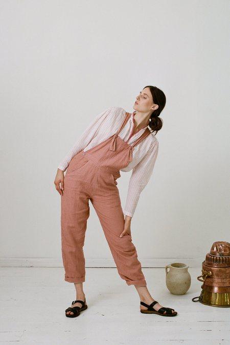 Karu Handloom Linen Overalls - Pink Clay