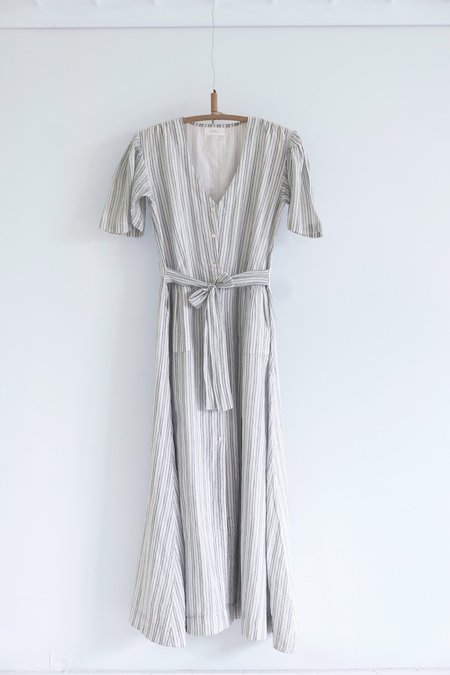 Karu Striped Khadi Cotton House Dress - ceramic blue