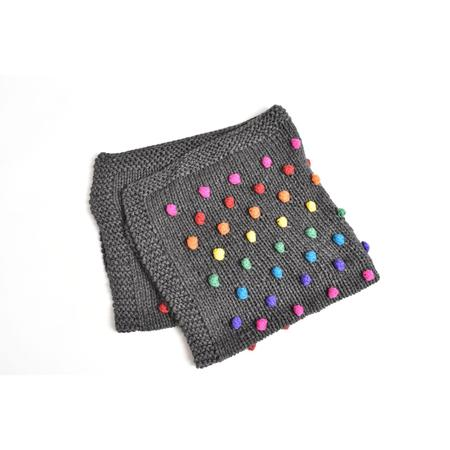 Kids Cabbages & Kings Hand Made Rainbow Pom Blanket - Charcoal