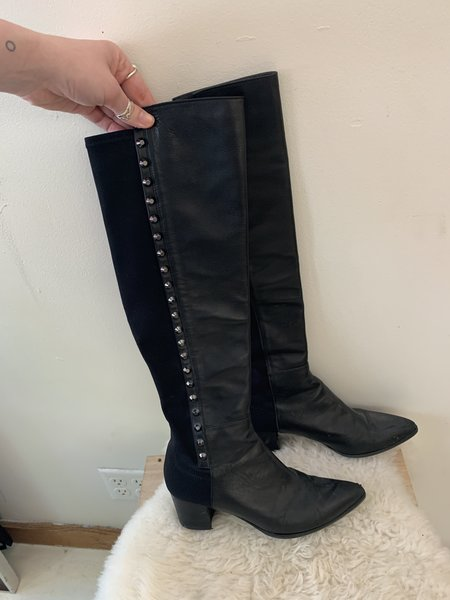 [pre-loved] Stuart Weitzman Studded Knee High Boots - Black