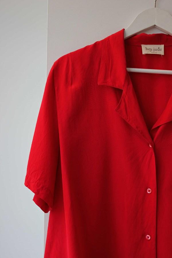 Hey Jude Vintage Crimson Silk Blouse