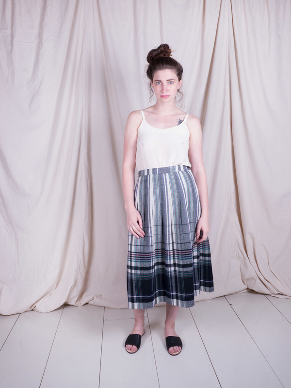Woods Vintage Plaid Wool Skirt