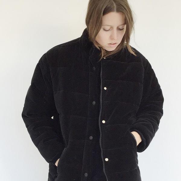 Johan Vintage Black Velvet Puffer Coat