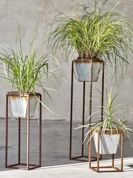 Nkuku Large Narlu Planter Stand - Aged Zinc