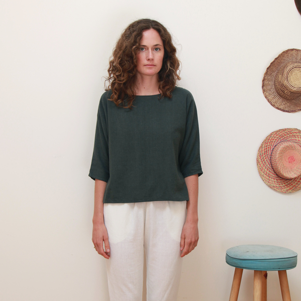 Unknown Dolman 3/4 Sleeve Top Ivy