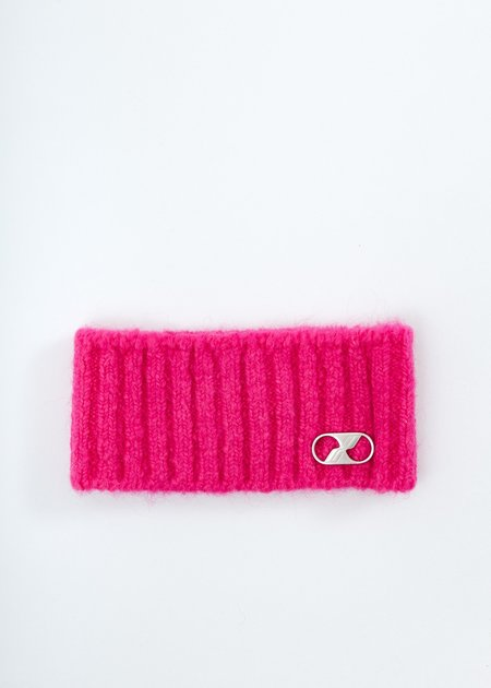 we11done Embroidered Metal Logo Hairband - Pink