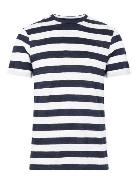 J Lindeberg Coma Clean Linen Stripe T-Shirt - Navy