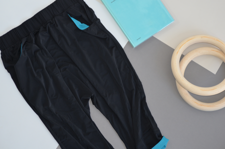 VPL Tracking Pants: Black & Turquoise