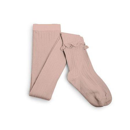 Kids Collegien Ribbed Tights with Ruffle - Old Rose