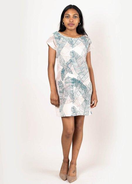 tonle Basic T-shirt Dress - Cream Palm