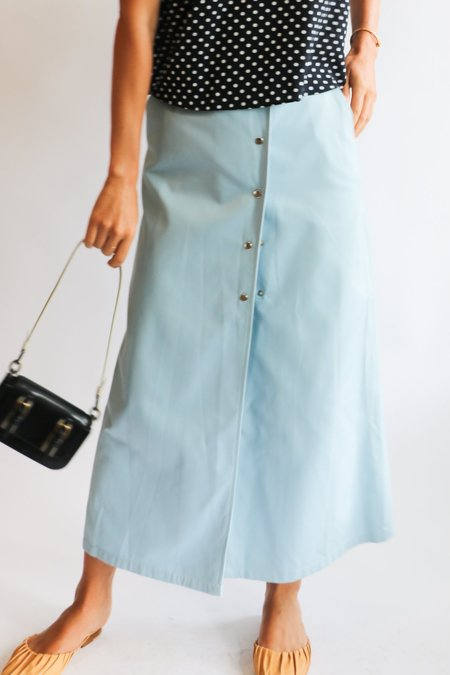 [Pre-loved] A.P.C. Snap Midi Skirt - Light Blue