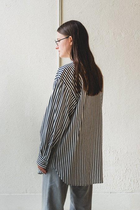 Factory Striped Wide Shirt - Navy