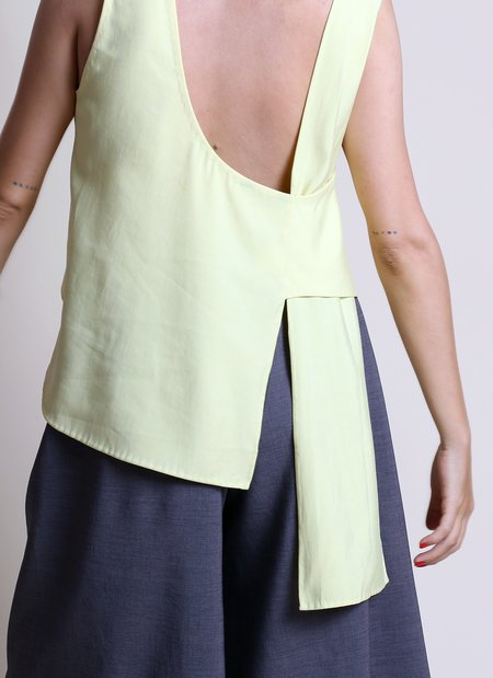 KAAREM Stigma Layered Back Knot Tie Tank - Lemon