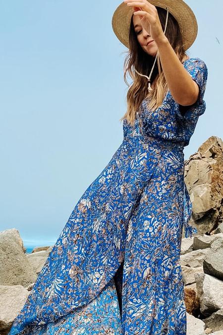 Karma Highway Vivian Wrap Dress - Blue Seashell