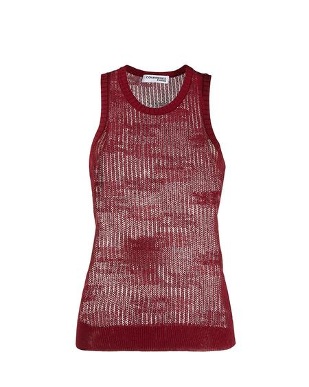 Courrèges Sheer Knitted Vest Top - Bordeaux