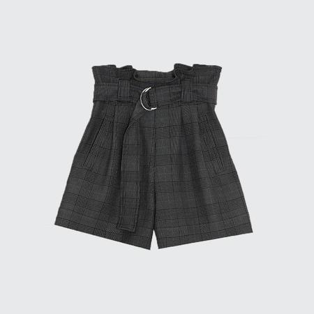 Ganni Plaid Paperbag Waist Shorts - Kalamata