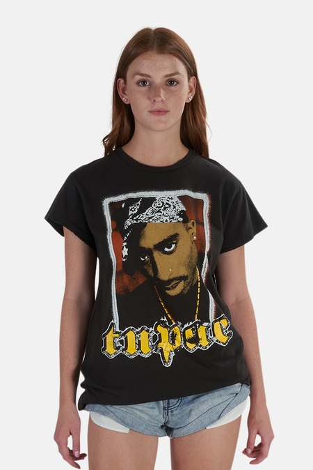 MadeWorn Rock Tupac Bandana T-Shirt - Dirty Black