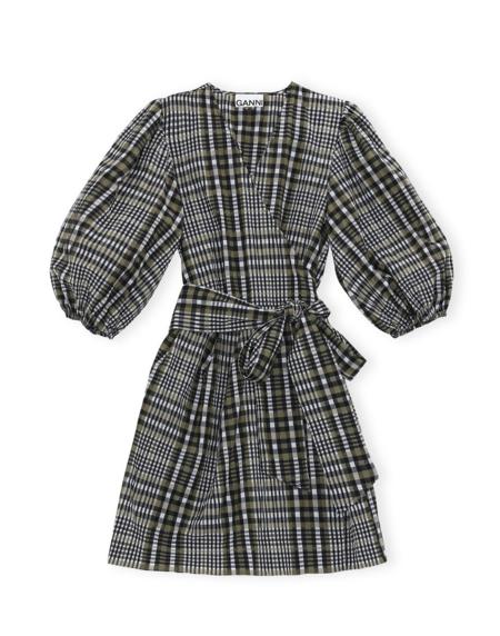 Ganni Seersucker Check Dress - Kalamata