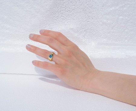Luiny Blue Topaz Hilma Ring - Gold plated/brass
